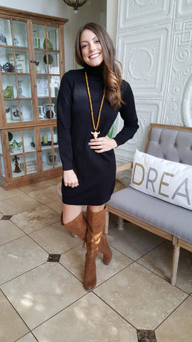 Keep Me Warm Sweater Dress In Black