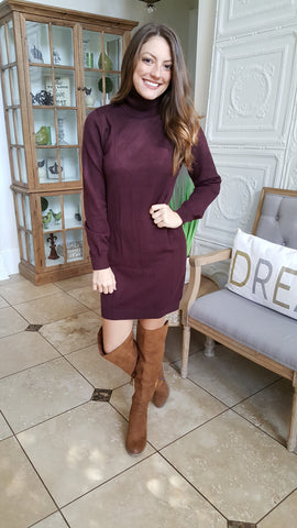 Keep Me Warm Sweater Dress In Burgundy