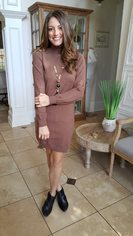 Keep Me Warm Sweater Dress In Mocha