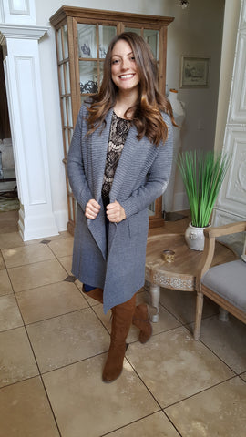 Cuddle With Me Sweater Cardigan In Grey