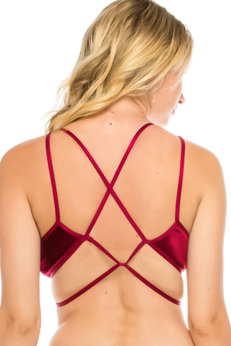 Venus Velvet Bralette in Red