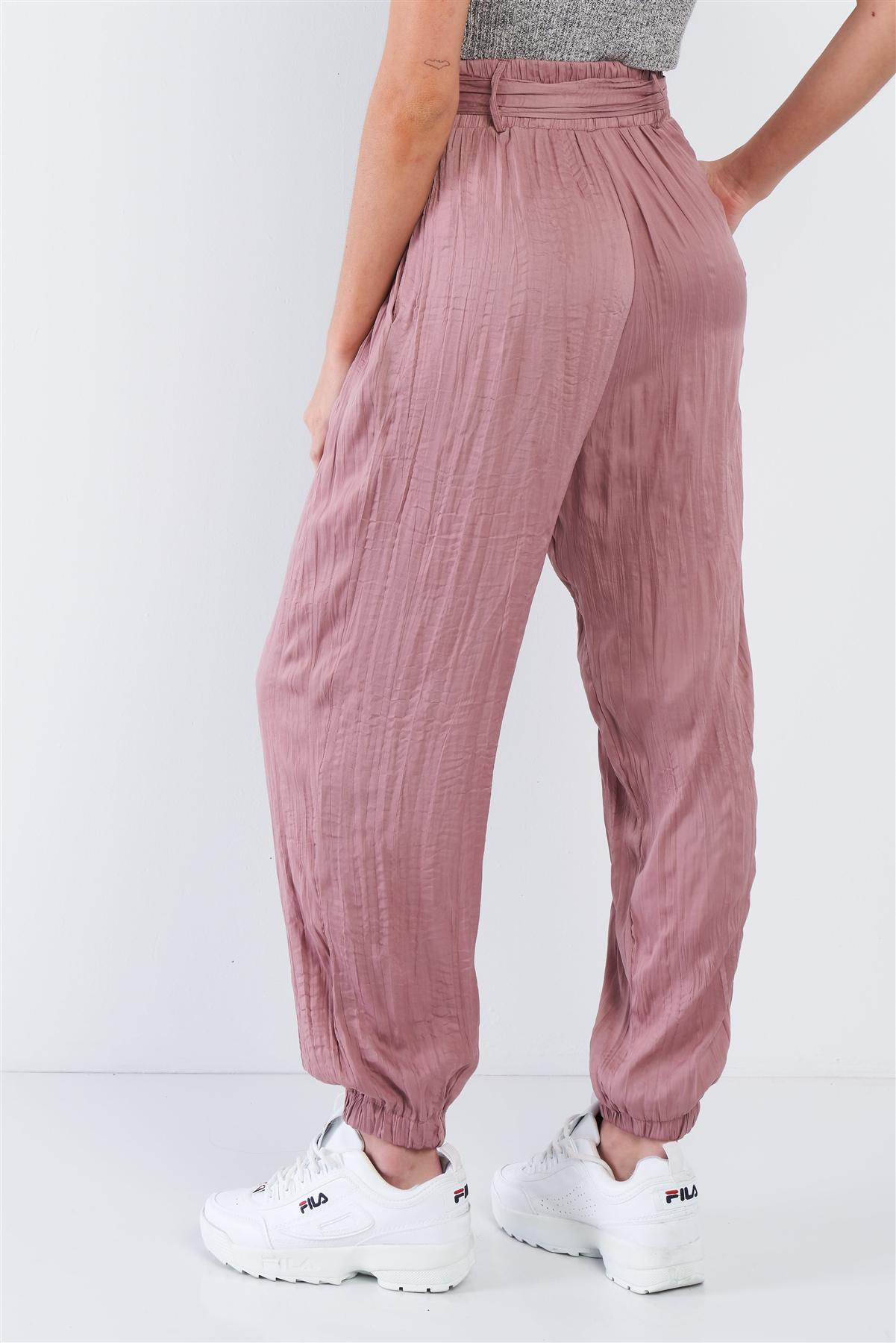 Gypsy Crushed Satin Pants in Blush