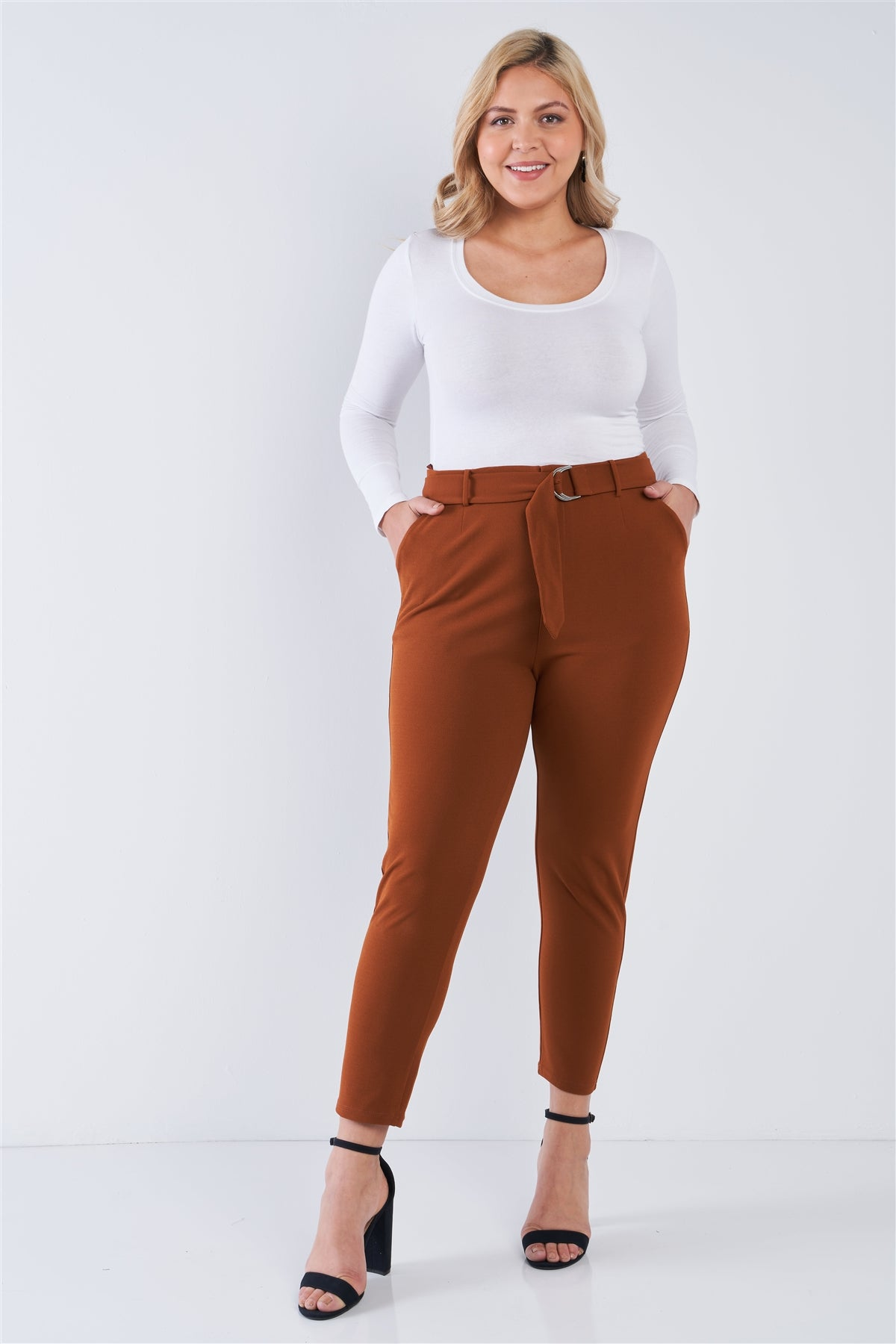 Claire High Waisted Pants in Brick