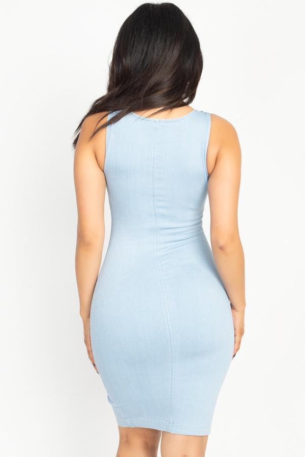 Britney Denim Zip Dress in Light Wash