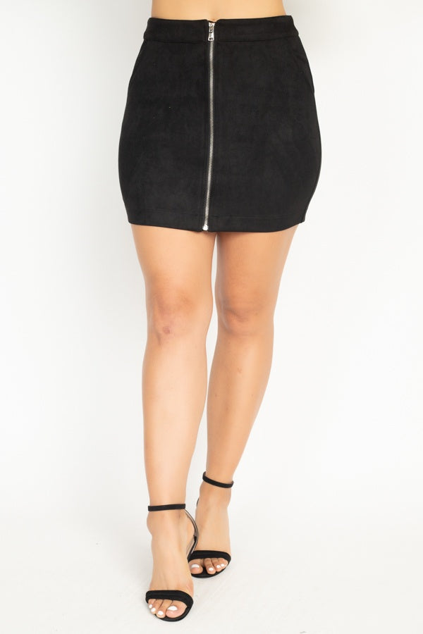 Kimberly Front Zip Skirt in Black