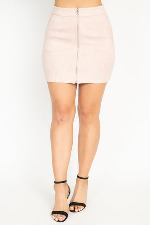 Kimberly Front Zip Skirt in Blush