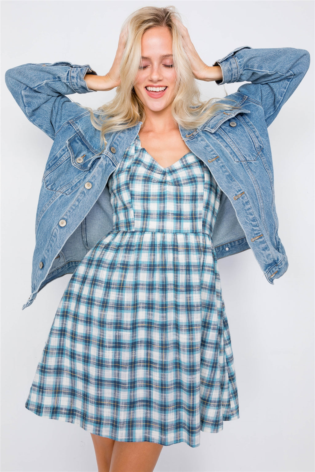 Baby Girl Blue Plaid Dress
