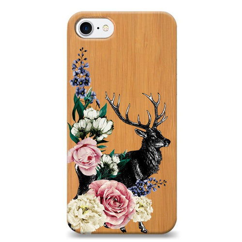 Funda Unique Cases de Madera para celular - Flower Deer