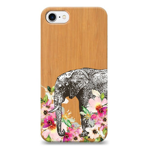 Funda Unique Cases de Madera para celular - Flower Elephant