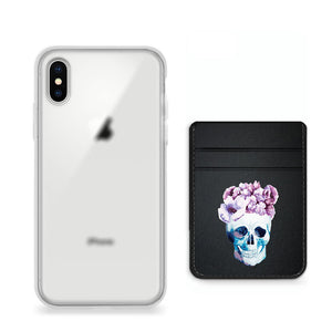 Pack funda y pocket para celular - Flower Skull