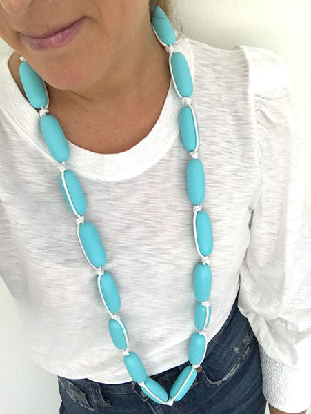 Evie Marques Endless Summer necklace Pool on white cord