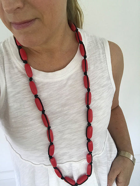 Evie Marques Midi necklace Cherry Pie on black cord