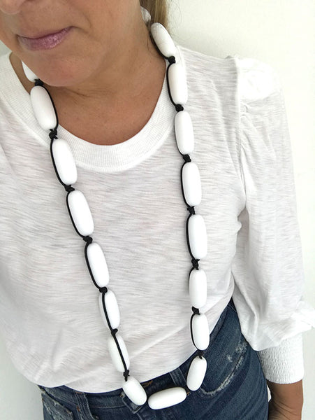 Evie Marques Original necklace Marshmallow on black cord