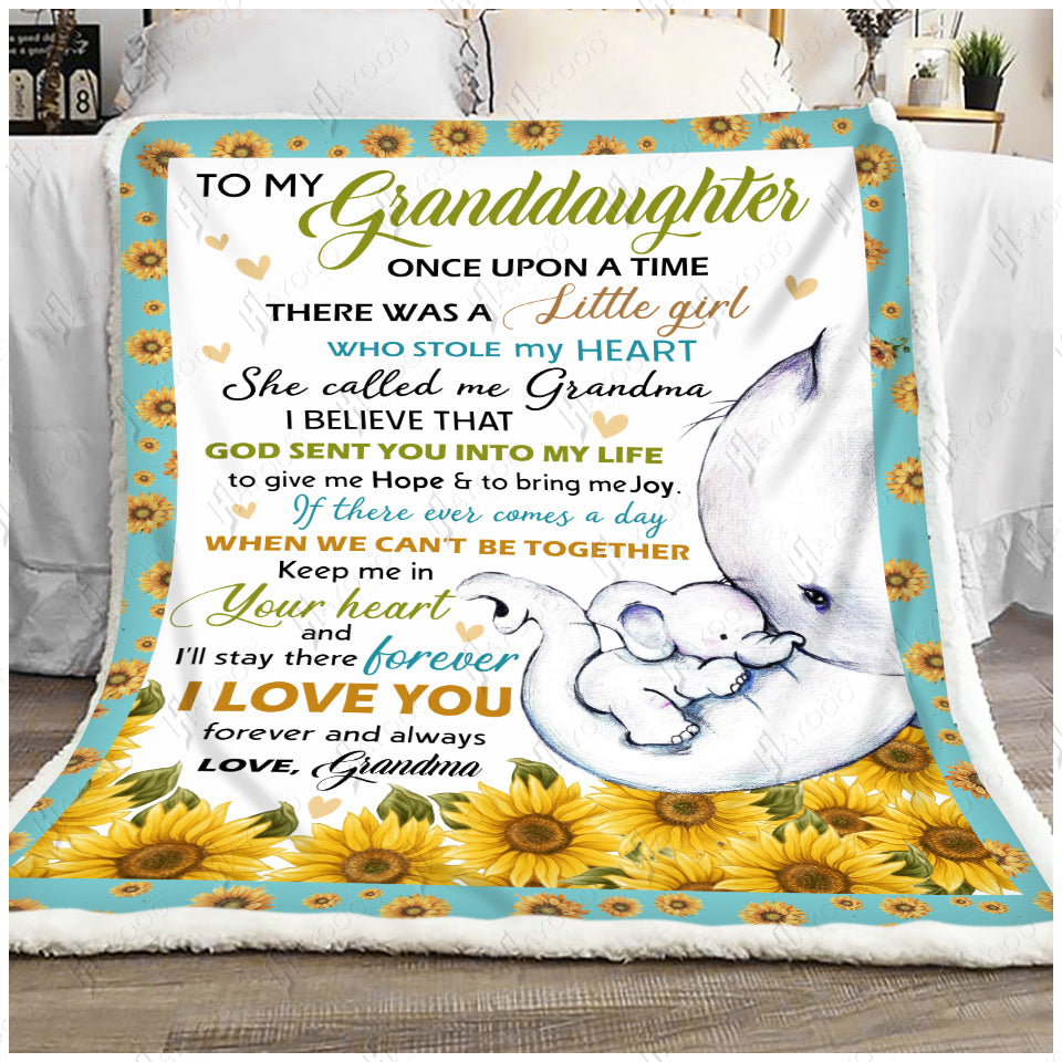 Hayooo Fleece Blanket Elephant To My Granddaughter God Sent You Into My Life
