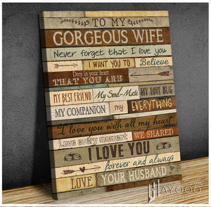 Hayooo To My Gorgeous Wife You Are My Everything Family Canvas Wall Art Decor