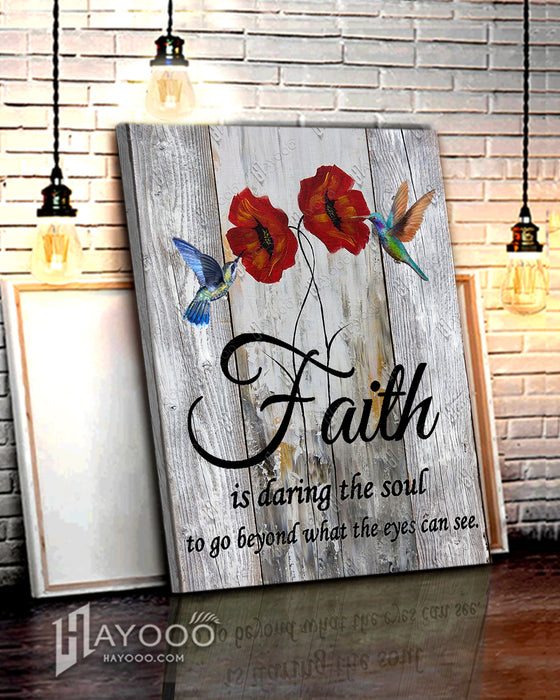 HAYOOO Top 10 Beautiful Hummingbird And Poppy Flower Canvases Faith Is Daring The Soul To Go Beyond Wall Art Decor