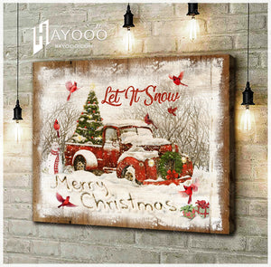 Hayooo Merry Christmas With Cardinal Canvas Wall Art Decor Let It Snow