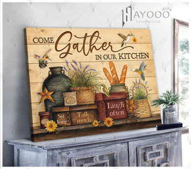 Hayooo Farmhouse Kitchen Hummingbird Canvas Wall Art Decor