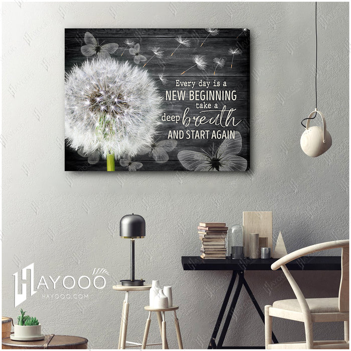 HAYOOO Top 10 Beautiful Dandelion With Butterflies Canvases Every Day Is A New Beginning Wall Art In Black For Farmhouse Decor