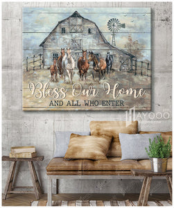 Horses - Canvas - Bless our home and all who enter