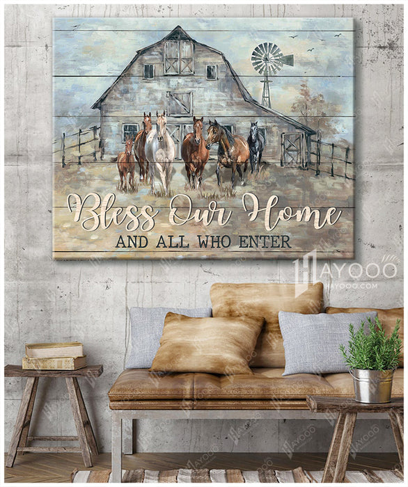 Horses Canvas Bless Our Home And All Who Enter