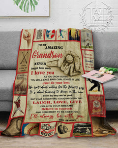 Hayooo Baseball Blanket To My Grandson Laugh, Love, Live (Grandpa)