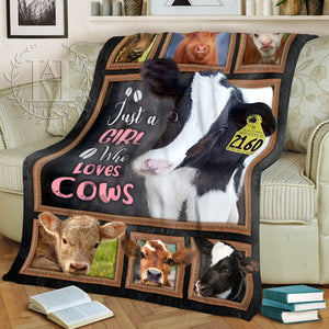Hayooo Customized Cow Blanket Just A Girl Who Loves Cows