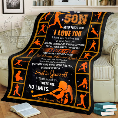 Hayooo Baseball Blanket To My Son Trust In Yourself (Mom And Dad)