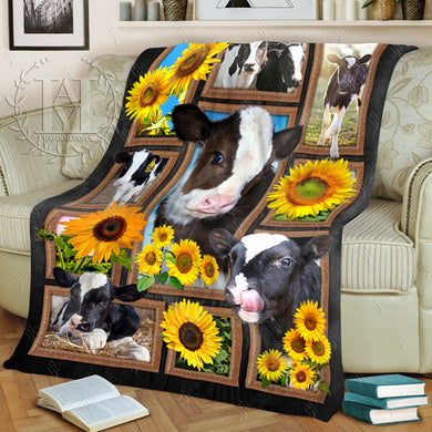 Hayooo Customized Cow Blanket Cute Cows & Sunflowers