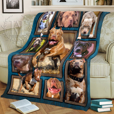 Hayooo Fleece Blanket Dog Cute Pit Bulls