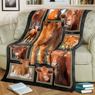 Hayooo Fleece Blanket Cow Cute Red Angus Cattles
