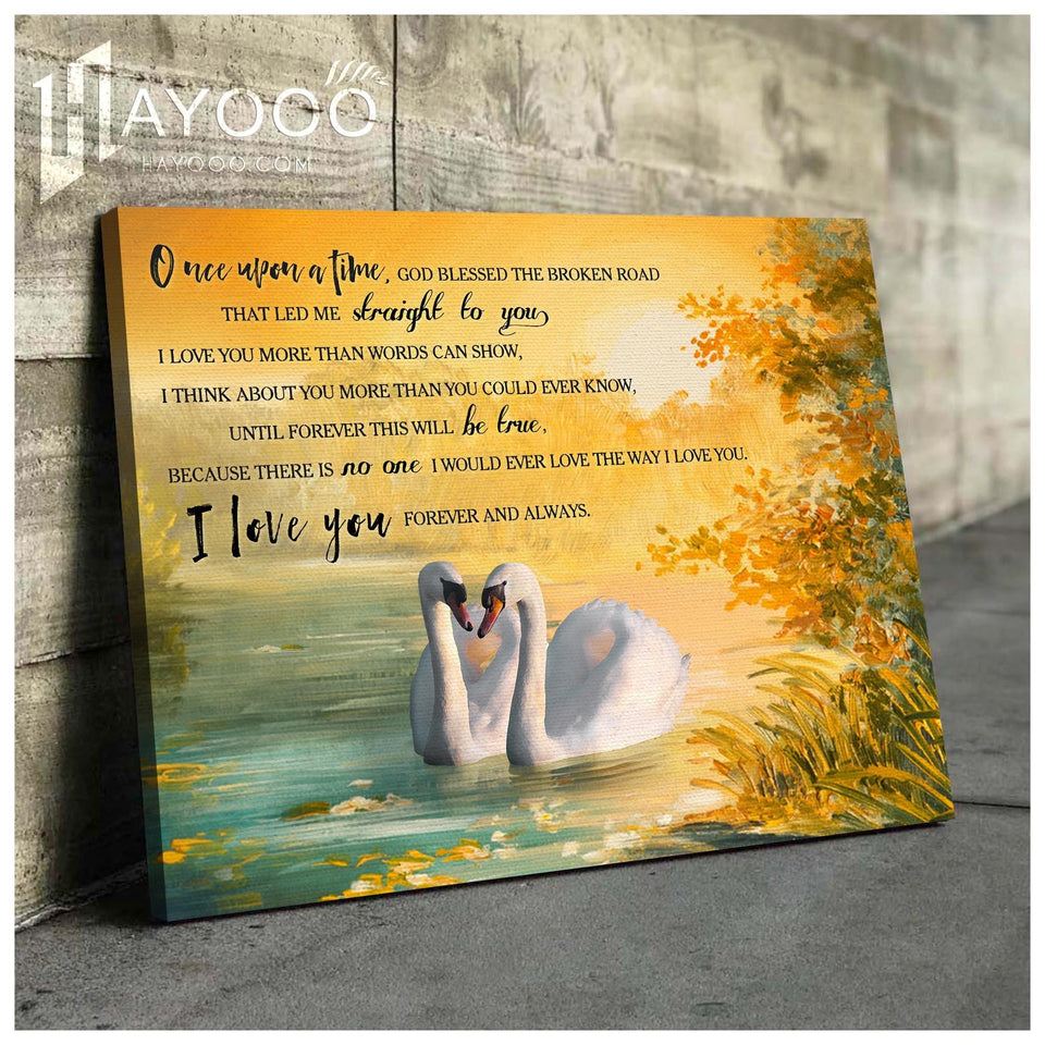 Swan Canvas I Love You Forever And Always - Hayooo Shop