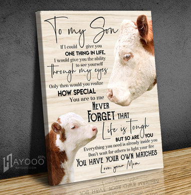Cow - Canvas - To My Son - You Have Your Own Matches