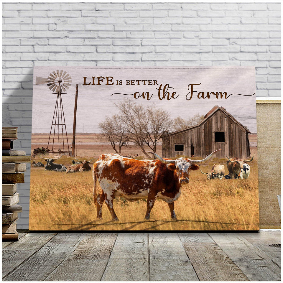 Cow - Canvas - Life is better on the farm