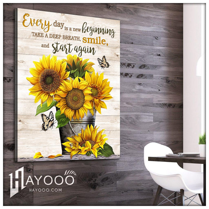Butterfly & sunflower - Canvas - Smile and start again