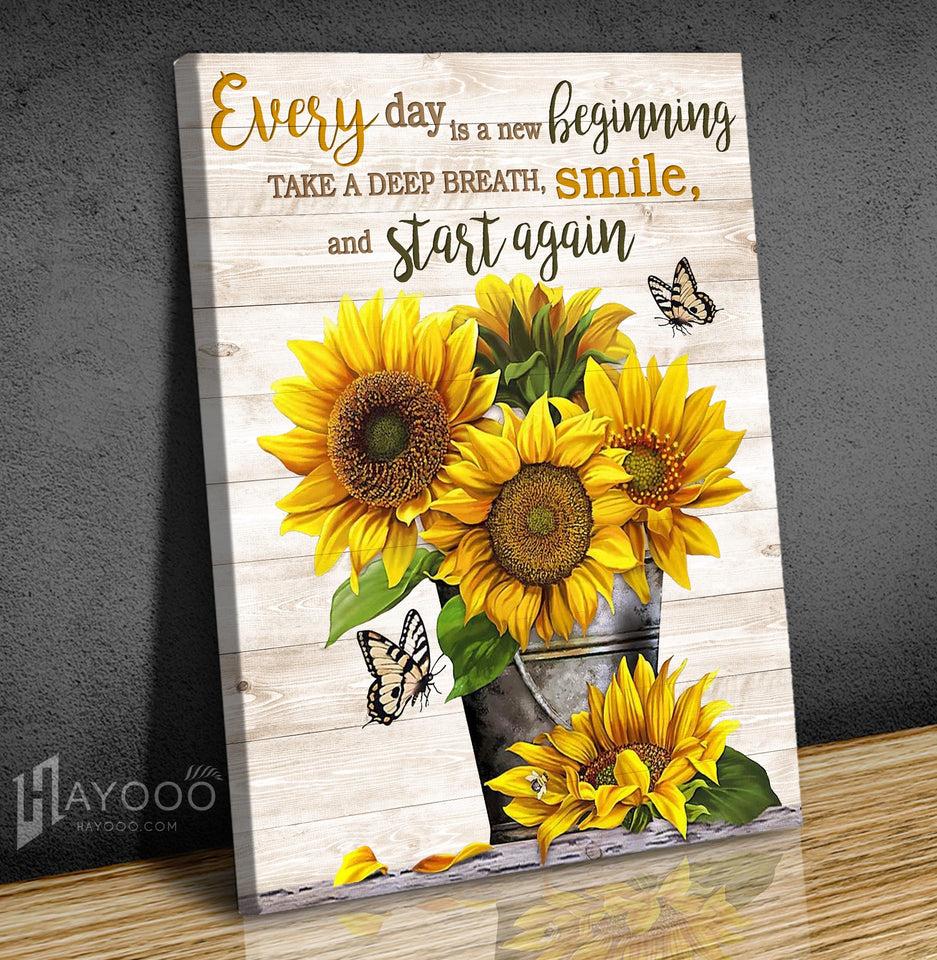 Hayooo Every Day Is A New Beginning Sunflower And Butterfly Canvas Wall Art Decor
