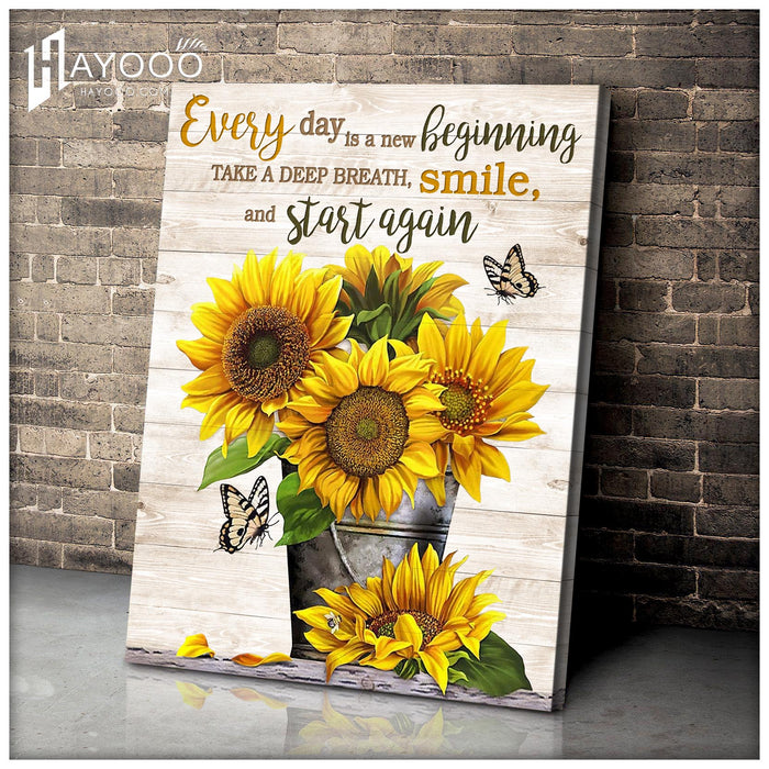 Butterfly & Sunflower Canvas Smile And Start Again