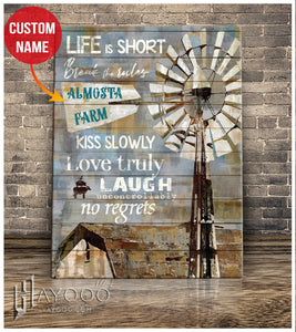 Custom canvas - Farm name - Life is short
