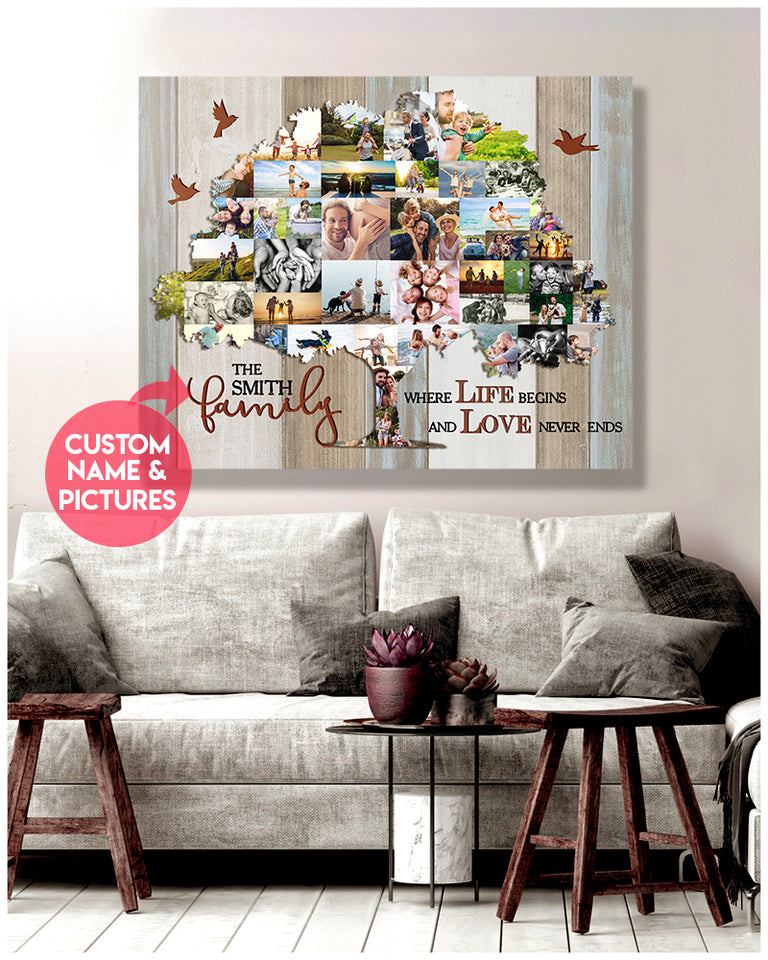 Custom family canvas - Family tree -Where life begins and love never ends
