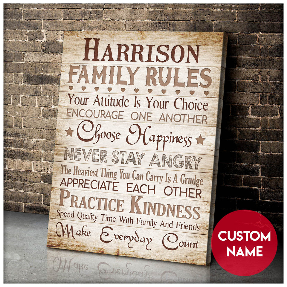 Custom Family Name Canvas Family Rules Choose Happiness