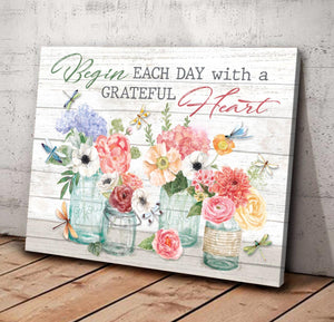 Dragonfly - Canvas - Begin each day with a grateful heart 2