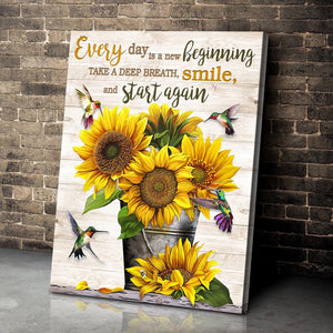 Hummingbird & Sunflower Canvas Smile And Start Again