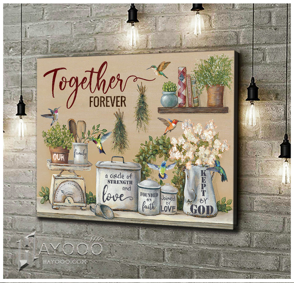 Hummingbird - Canvas - Our family together forever