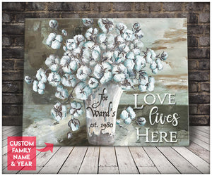 Custom Family Name & Year Canvas Love Lives Here With Cotton Flower And Farmhouse Wall Art Decor