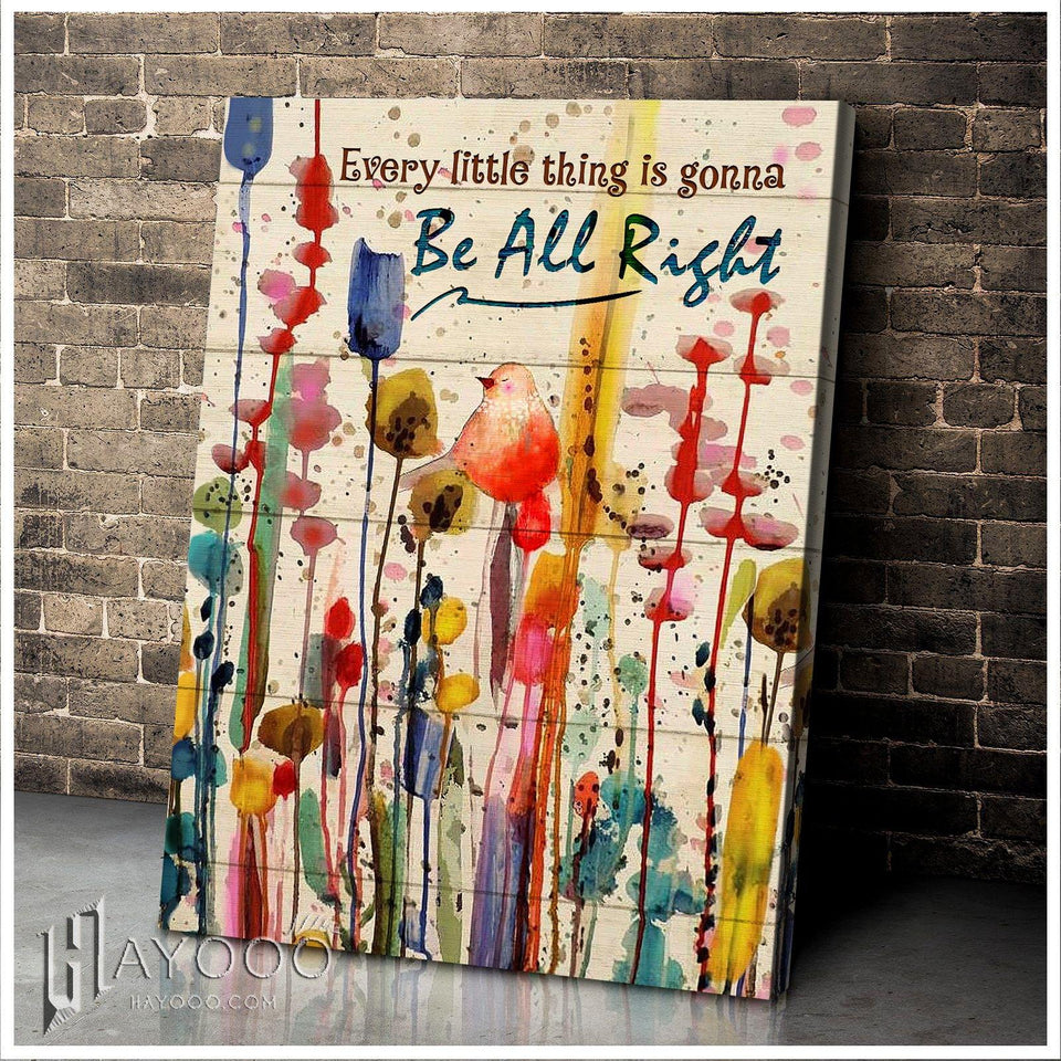 Bird Canvas Every Little Thing Is Gonna Be All Right - Hayooo Shop