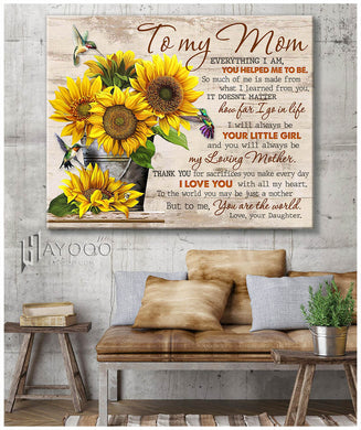 Sunflowers & Hummingbirds - Canvas - To my mom - You are the world