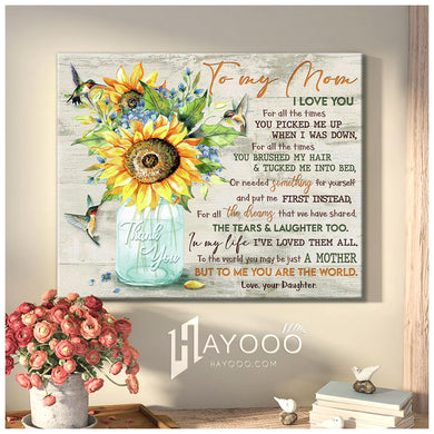 Sunflower & hummingbird - Canvas - To my Mom - Thank you for all the times