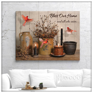 Cardinal - Canvas - Bless our home and all who enter 2