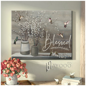 Hayooo Hummingbird Canvas Wall Art Blessed
