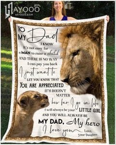 Fleece Blanket Lion To My Dad My Hero